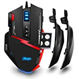 Zelotes C15 Gaming Mouse 7000 DPI, 13 Programmable Buttons, Weight Tuning Cartridge, RGB LED Customizable, Interchangeable Side Plates (Black)