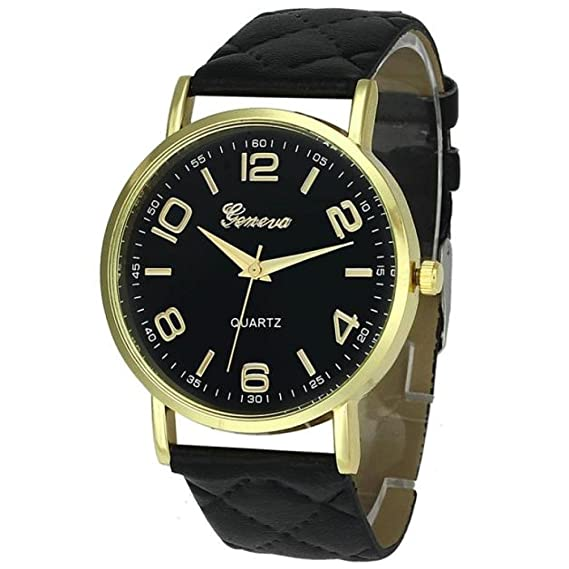 Amazon.com: Womans Watch,Geneva Quartz Analog Bracelet Faux Leather Wristwatch Chimes Clock Axchongery (Black): Clothing