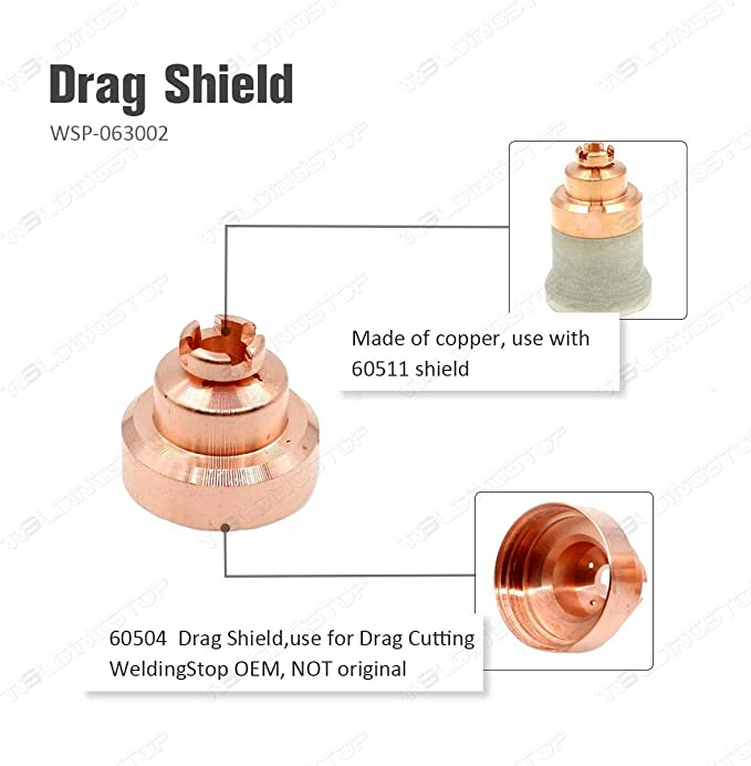 Plasma Cutting Shield Cap 60504 for PT-80 IPT-80 Hand Torch Consumables 2pcs