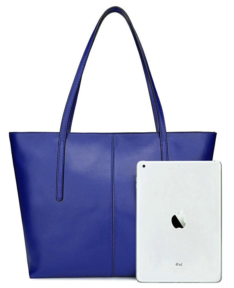 067b46de1a2a Amazon.com  ilishop Women s Large Leather Shoulder Bag Work Tote with  Zippers (Blue)  Shoes