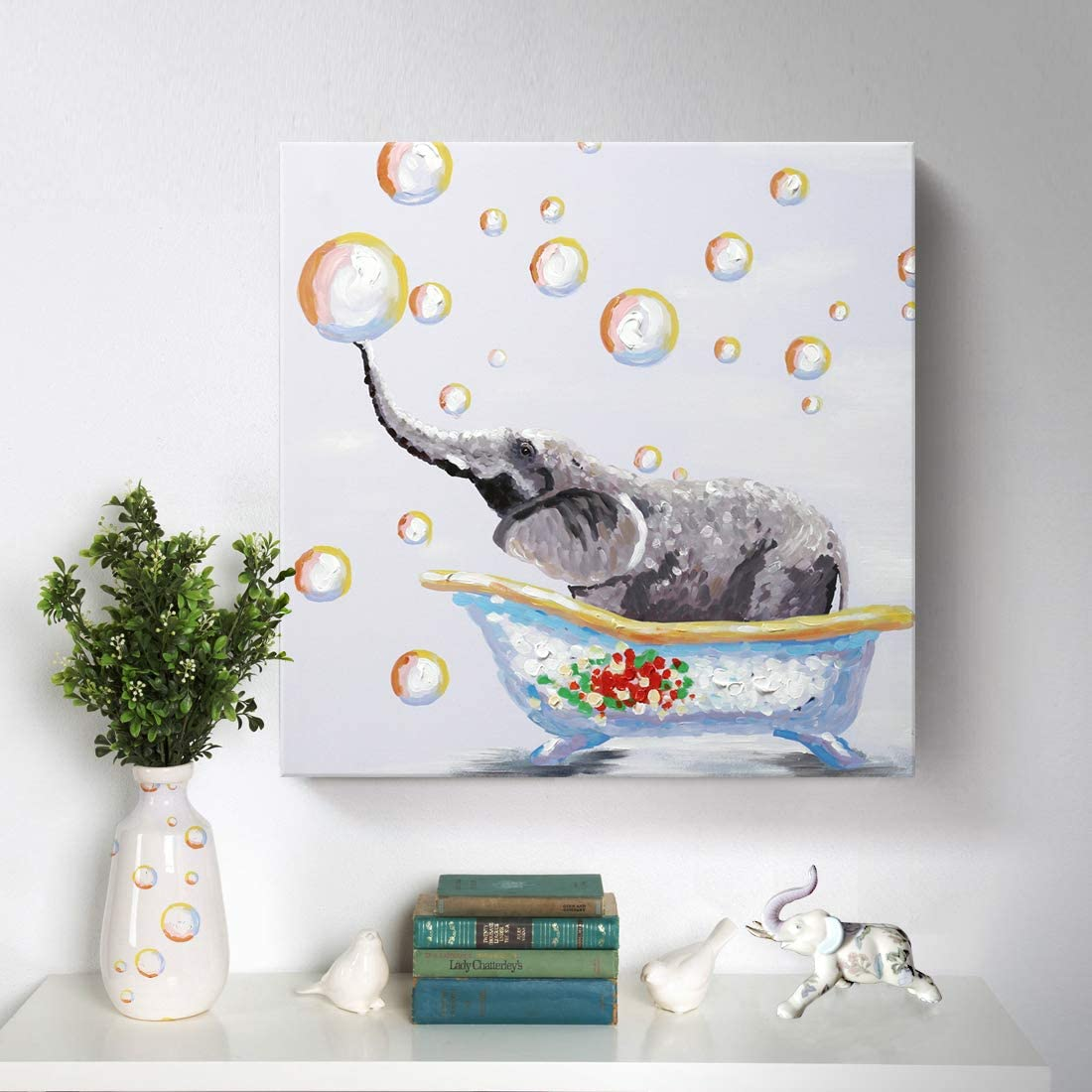 Amazon Com Bathroom Wall Art 100 Hand Painted Cute Elephant Oil Painting Colorful Animal Canvas Artwork Framed Creative Picture Modern Home Living Room Bedroom Kids Room Decoration Ready To Hang Paintings