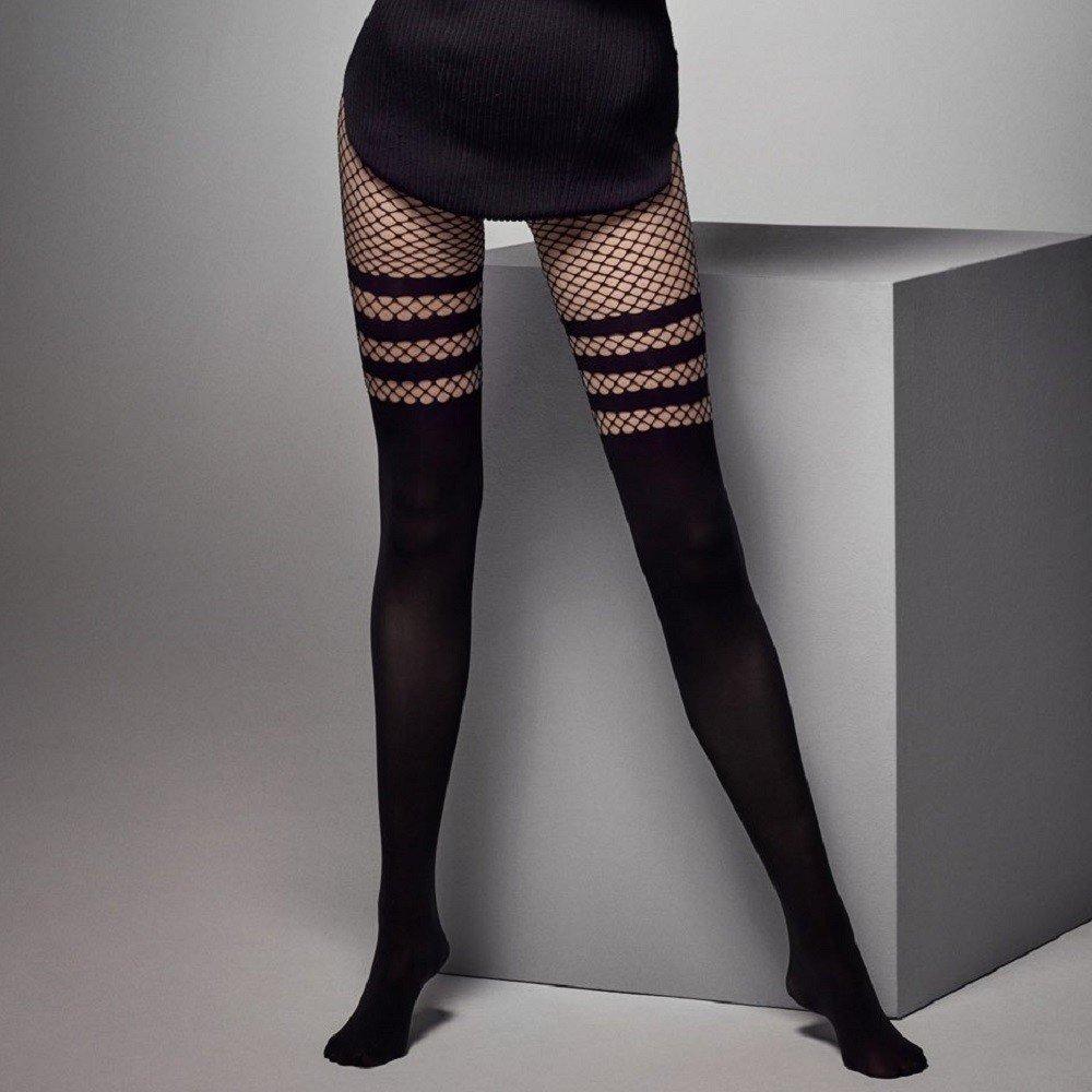 0bceea32d Ladies Black Patterned Fishnet Tights Imitating Over Knees