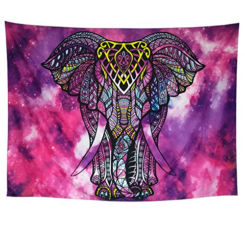 DIPPERION Elephant Tapestry Wall Hanging Purple Tapestry Watercolor Bohemian Psychedelic Tapestry Wall Tapestries Colorful Hippie Tapestry Indian Wall Art for Bedroom Dorm Decor