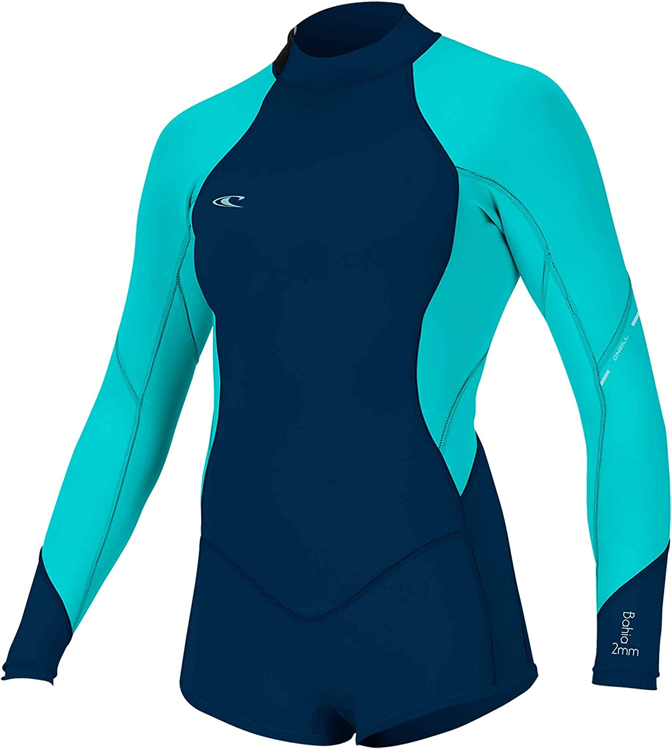 O'NEILL Girl's Bahia 2/1MM Back Zip L/S SURF Suit, DKOLIVE/Baylen/BLK, 10