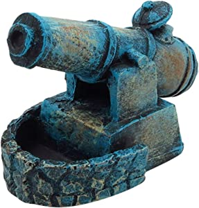 POPETPOP Fish Tank Decor Cannon Ornaments - Aquarium Pirate Cannon Fort Decorations - Resin Material Mini Cannon Ornaments, Safe and Non-Toxic