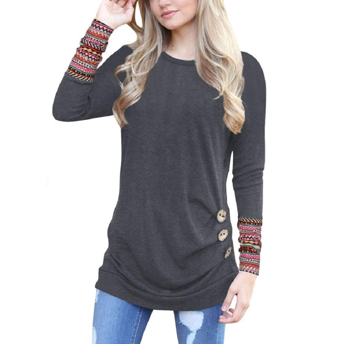 GONKOMA Hot Sale Women Autumn Blouse Long Sleeve Trim T-Shirt Tops Casual Round Neck Patchwork Tunic Blouse Deep Gray) XWJ520