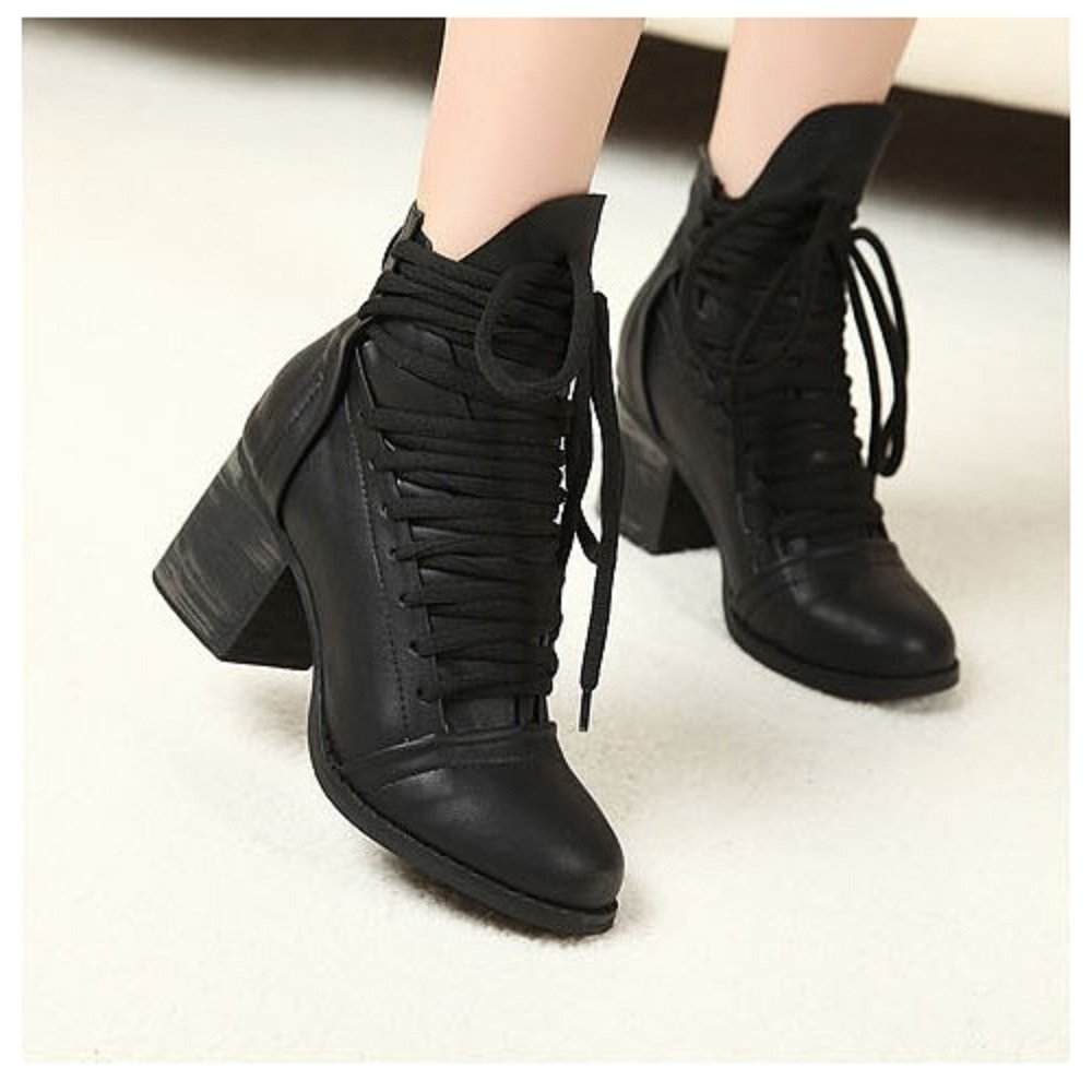 Hanxue Womens Platform Chunky High Heel Fashion Lace Up Martin Boots Black