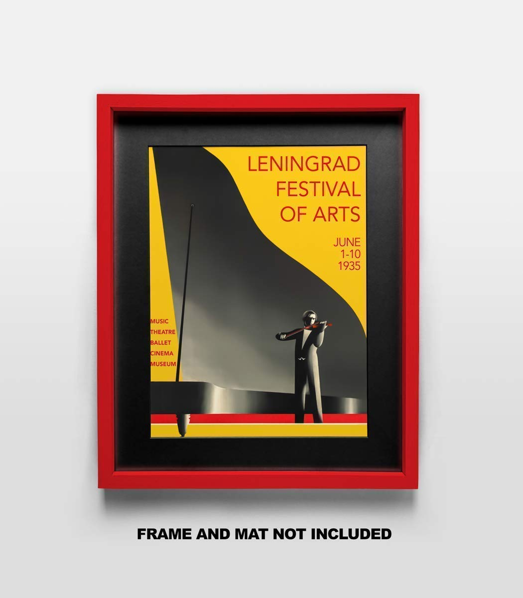 Dorm or Bedroom School Gift Under $20 Decor for the Home 11x14 Unframed Photo Wall Art- Great for Music Lovers Leningrad Festival of Arts Vintage Poster Beautifully Restored Fine Art Print