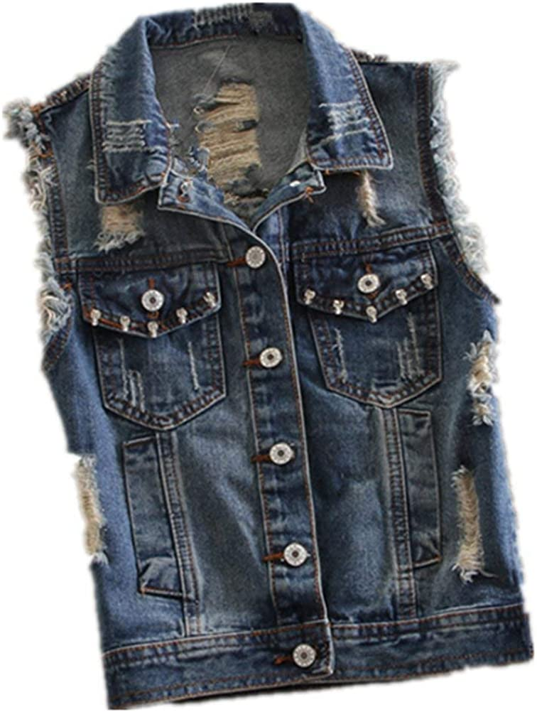 Lannister Gilet Jeans Donna Casual Fashion Strappato Smanicato Giacche Jeans Gil/è Eleganti Casual Vintage Ragazza Distressed Denim Giacche Giubotto Primaverile Estivi