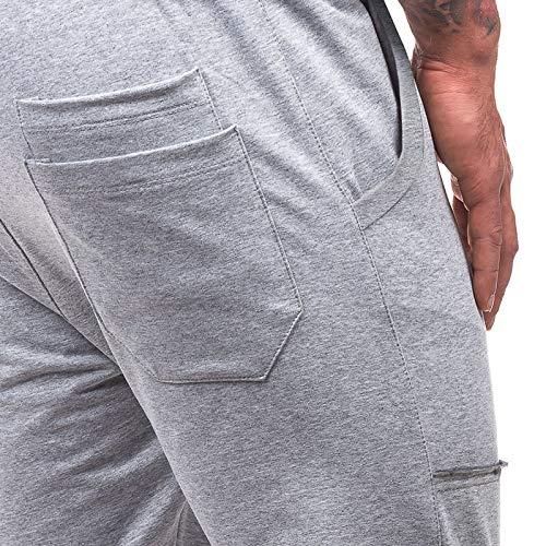 Sport Tasche Pants Chiaro Elasticizzati Fit Jogging Cargo Uomo Grigio Laterali Con Casual Slim Bmeigo Sportiva Pantaloni Coulisse 6aOx0