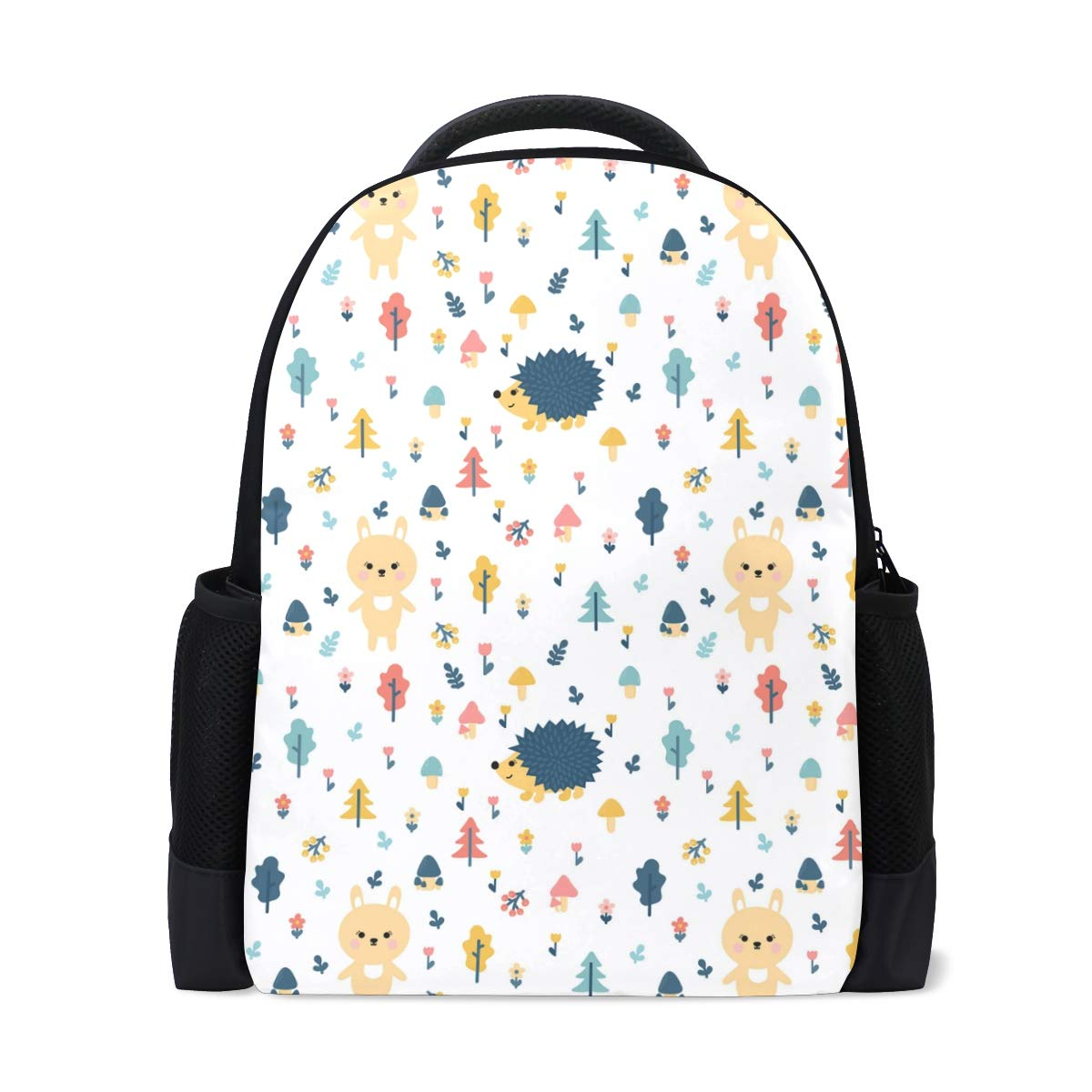 Christmas Bunny Hedgehog Image Backpack Bookbags Waterproof Travel Daypack Bag Rucksack
