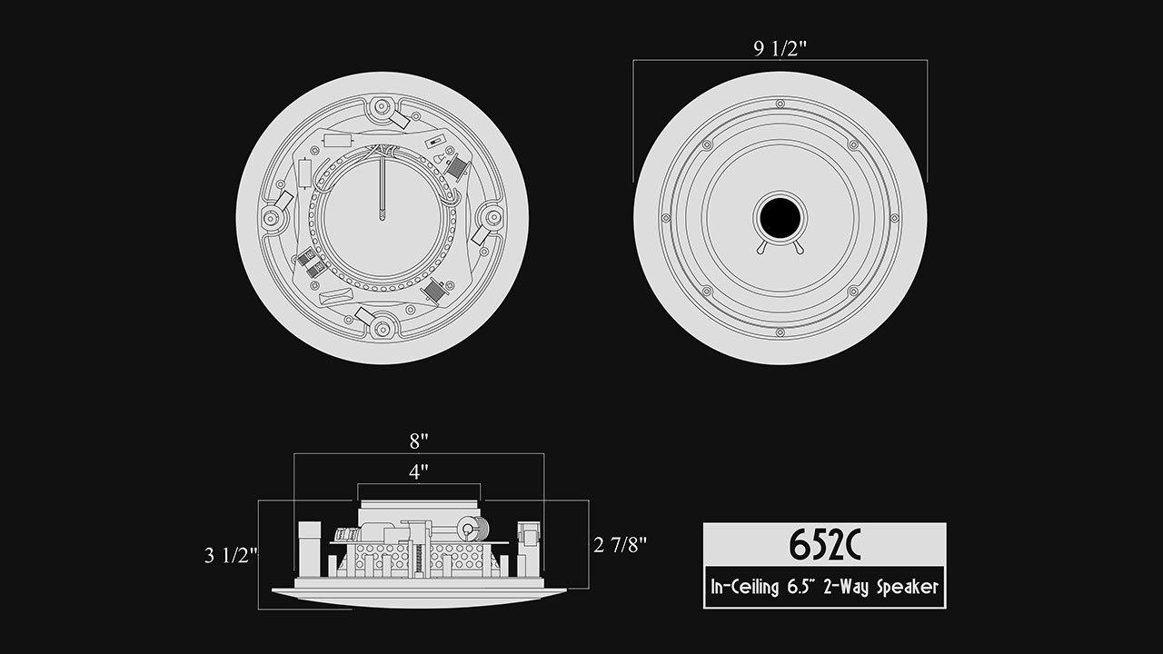 82W Silver Ticket in-Wall Speaker with Pivoting Tweeter 8 Inch in-Wall
