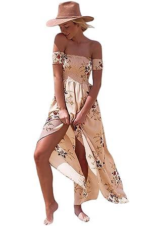 89c3f318e88acc Women Floral Off The Shoulder Split Chiffon Maxi Beach Dress Wedding Party  (L(US