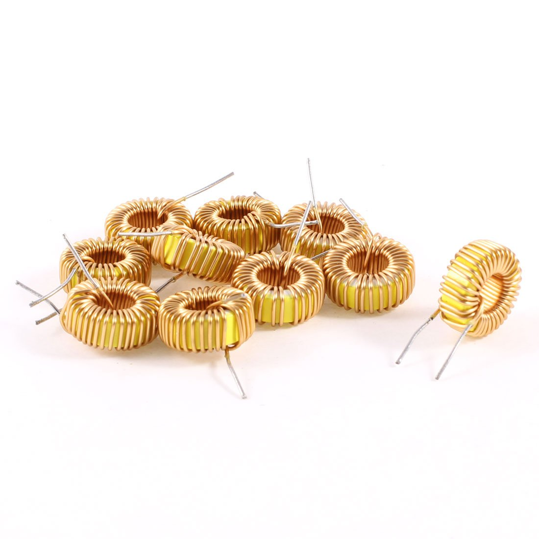 Uxcell a13071500ux0198 10 Piece Toroid Core Inductor Wire Wind Wound 47uH 38mOhm 3 Amp, Coil