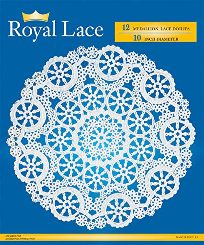 Royal Medallion Lace Round Paper Doilies, 10-Inch, Pack of 12 (B23005)