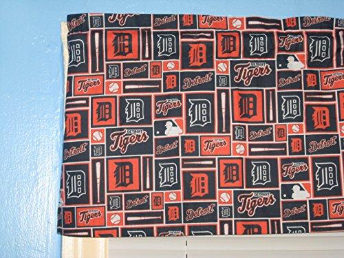 Handmade DETROIT TIGER logo Orange Navy White Window Valance (Tigers Curtain Valance)