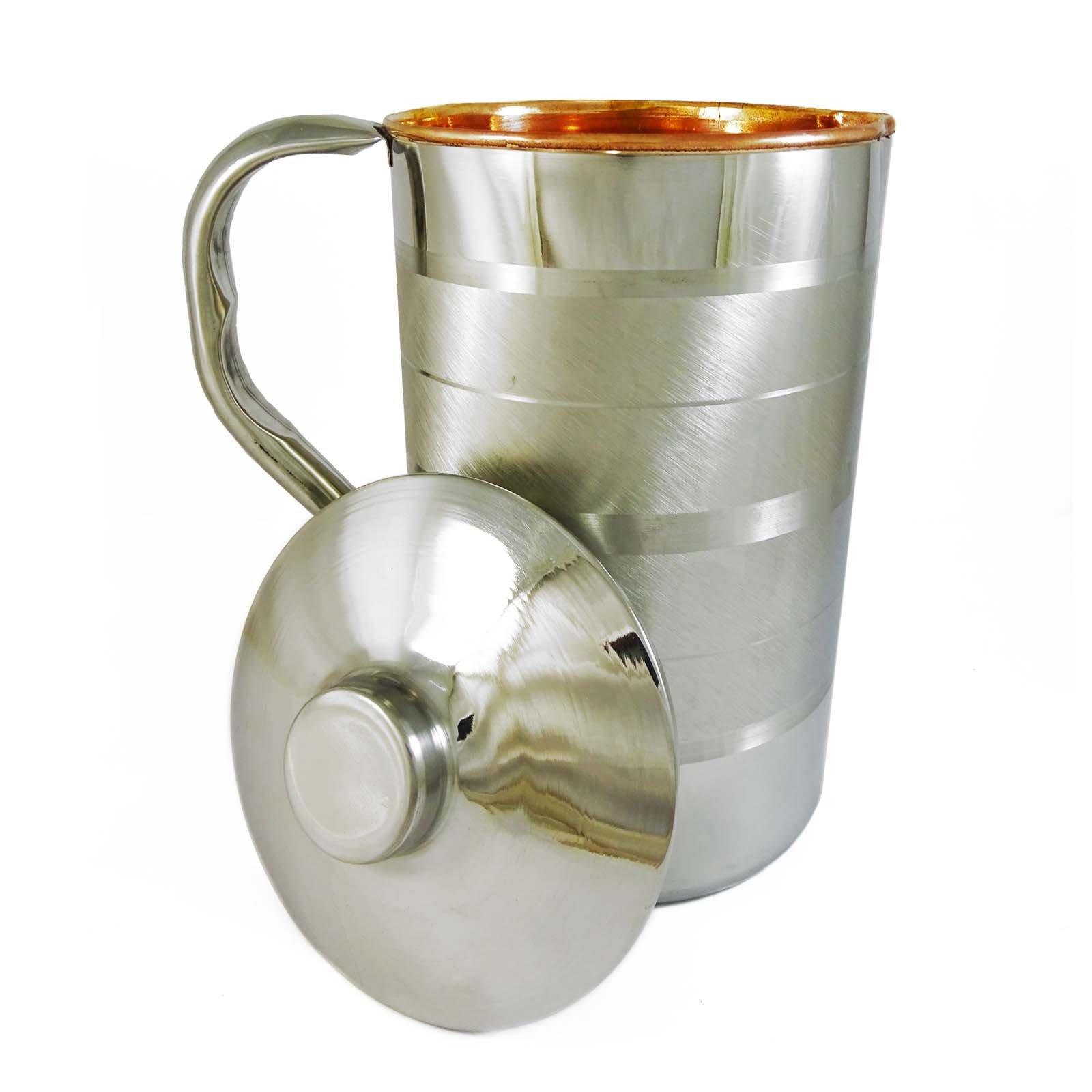 ibaexports Tableware Traditional Serving Ayurvedic Copper Steel Kitchenware Water Jug