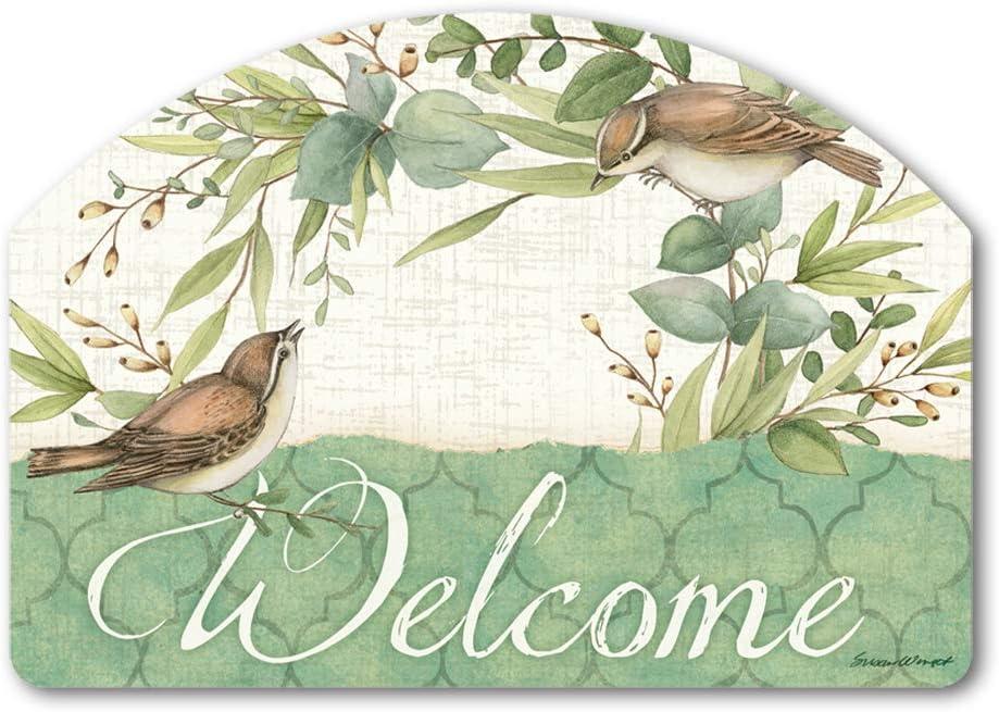 Yard DeSigns Studio M Eucalyptus Wreath Spring Summer Birds Decorative Yard Sign Magnet, Made in USA, Superior Weather Durability, 14 x 10 Inches