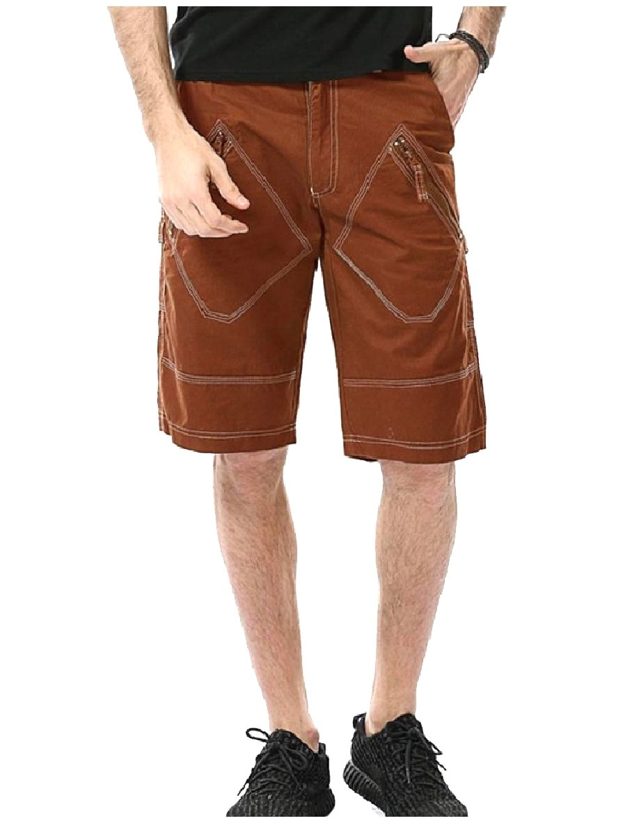 ANDYOU-Men Shorts Fine Cotton Oversized Straight Leg Cargo Twill Pant Coffee 31 by ANDYOU-Men (Image #1)