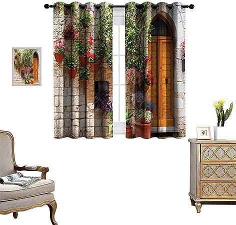 Fenggruihome Cortina Opaca para Puerta corredera de Patio para salón/Dormitorio Begonia en Caja y persianas de Madera en Pared de ladrillo en Italia 55 x 39 Pulgadas: Amazon.es: Hogar