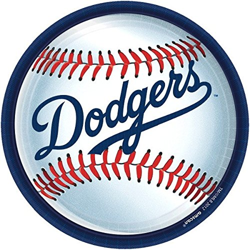 Amscan Los Angeles Dodgers Round Dinner Plates, 9
