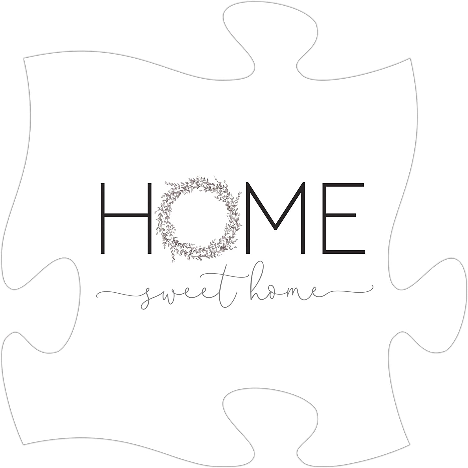 P. Graham Dunn Home Sweet Home Puzzle Classic White 12 x 12 Wood Wall Plaque Photo Frame