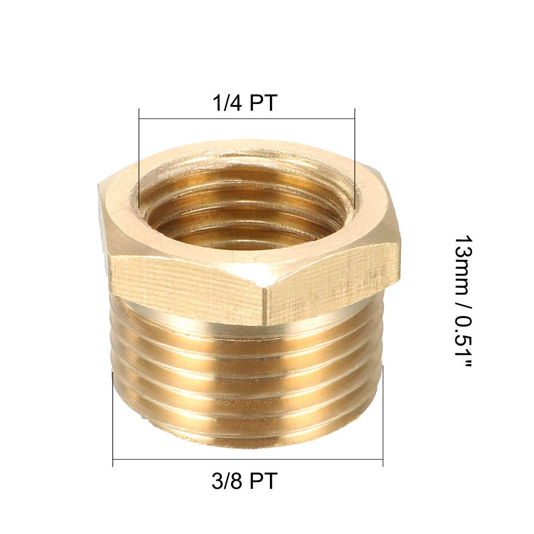 sourcing map Conexi/ón adaptador de casquillo hexagonal roscado de lat/ón del tubo de 1//2 PT macho x 3//8 PT hembra de 2 pzas