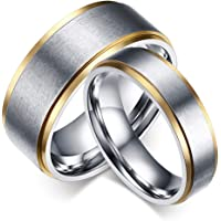 SAINTHERO Couple Ring Men's 8MM Wedding Band & Women's 6mm Promise Rings Band StyleVintage 316L Stainless Steel Surface…
