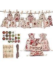 Advent Calendar Cloth Bags, DIY Advent Calendars, Advent Digital Stickers, Advent Calendar Bags, Advent Bags with Drawstring, Reusable for Christmas, DIY Craft Padding (24 PCS -Random Pattern)