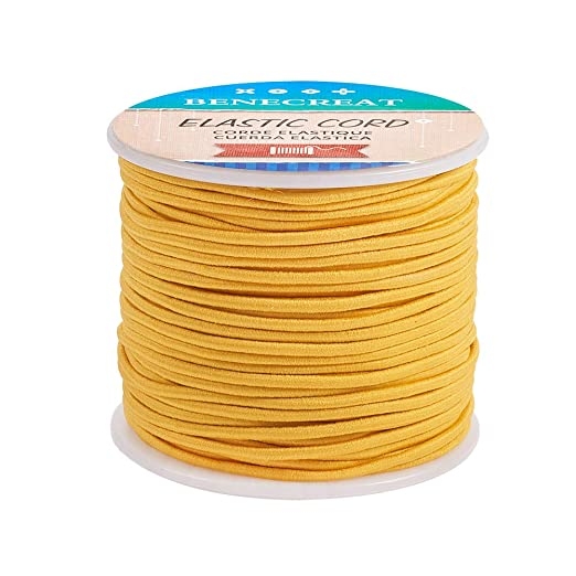 BENECREAT 50m 2mm Cord/ón El/ástico Hilo de Nylon de Rebordear Tela Hilo para Cuentas Pelo y Manualidad Oro Claro