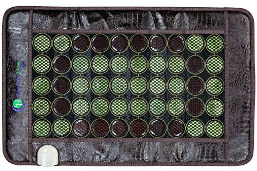 HL HEALTHYLINE - Far Infrared Heating Pad - 32inL x 20inW - Hot Stone Therapy - Negative Ions - 50 2in Pieces Natural Gemstones (Thai Massage Mat Shiatsu)