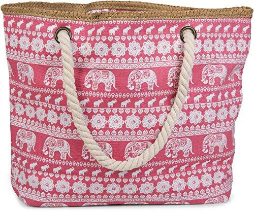 styleBREAKER Strandtasche mit Ethno Elefanten Muster und Reißverschluss, Schultertasche, Shopper, Damen 02012063 Koralle