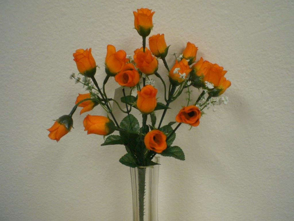4-Bushes-ORANGE-Mini-Rose-Buds-Artificial-Silk-Flowers-12-Bouquet-21-2601OR