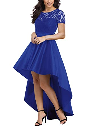Review Elapsy Womens Long Sleeve Lace High Low Satin Prom Evening Dress Cocktail Party Gowns