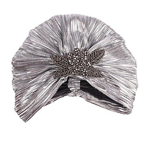 (TWGONE Womens Turbans Retro Big Flowers Hat Brim Cap (One Size,Silver))