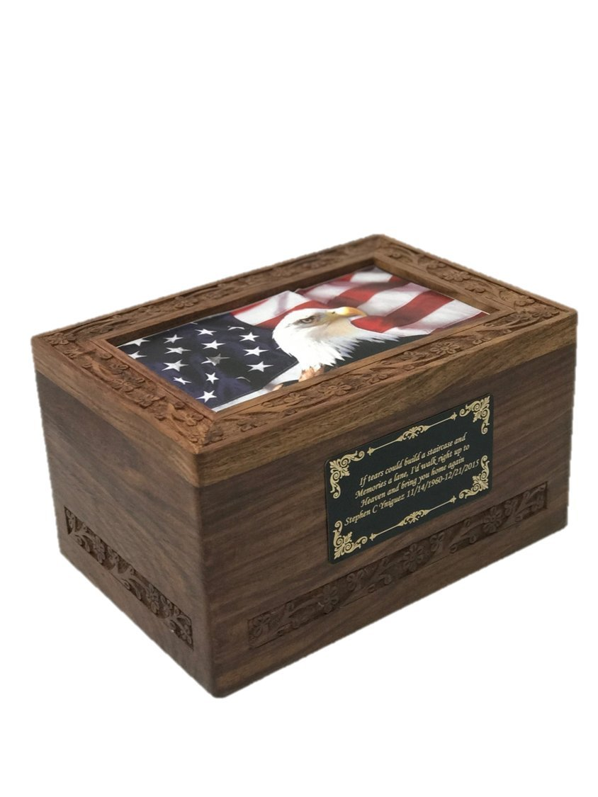 Large Size Photo Wooden Cremation Urn with Custom Engraving by NWA