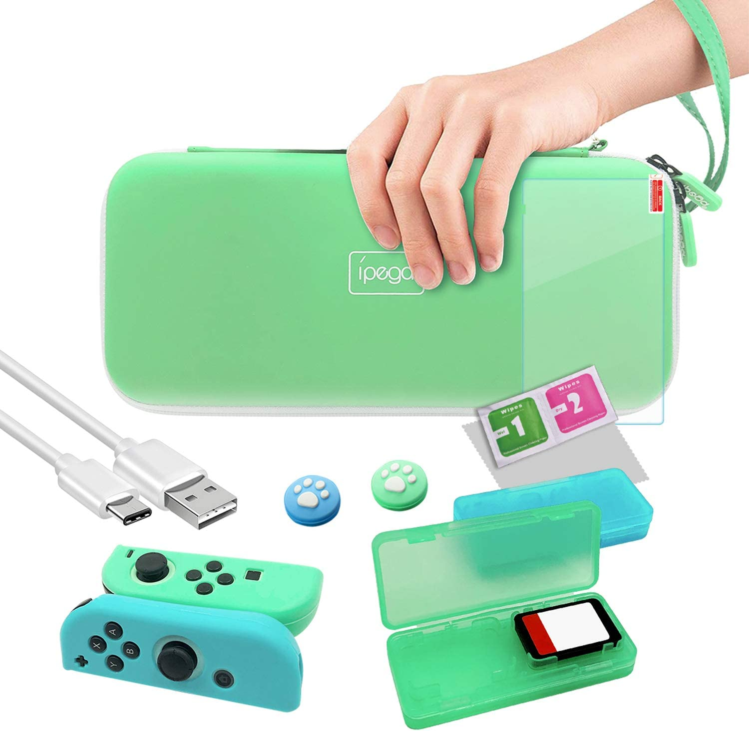 Accessories Bundle for Nintendo Switch, 12 in 1 Accessories Kit with Carrying Case, Screen Protector, Silicone Case for Joycon, Game card Case & Type-C Cable for Nintendo Switch Pro Controller