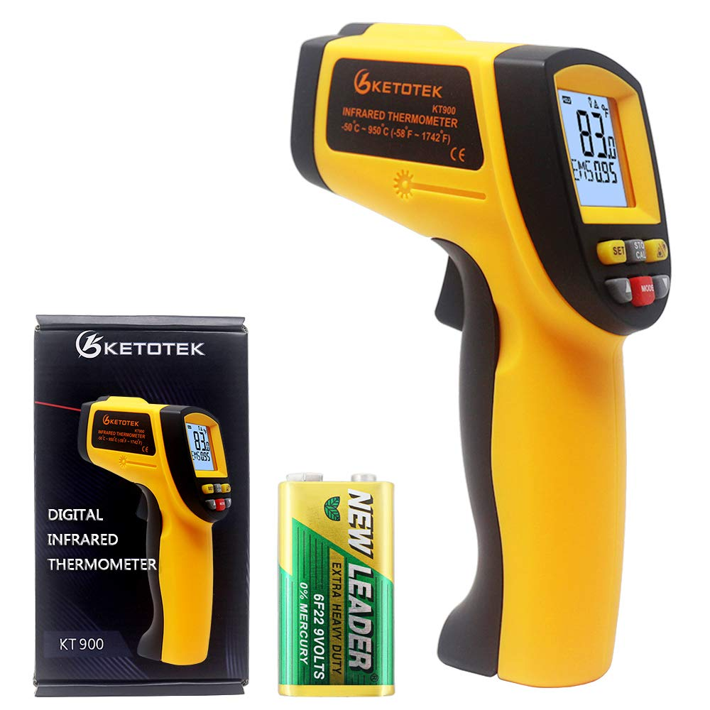 KETOTEK IR Infrared Thermometer, -58℉- 1112℉(-50℃ - 600℃)Non-Contact Digital Laser Infrared Thermometer Temperature Gun with LCD Display for Kitchen Food Meat BBQ and Industrial (Orange)