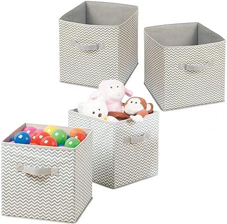 mDesign Juego de 4 Cajas para organizar juguetes - Caja de tela para artículos de bebé y niños - Organizador de tela para mantas, ropa o juguetes - gris topo/natural: Amazon.es: Hogar
