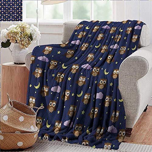 (PearlRolan Flannel Fleece Blanket,Nursery,Cute Owls in an Starry Night and Moon Happy Sleepy and Alert Animals,Night Blue Brown Yellow,Throw Lightweight Cozy Plush Microfiber Solid Blanket 30