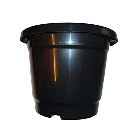 First Smart Deal 8 Inch Plastic Nursery Planter Pot Pack of 12 - Black