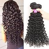 VRBest Brazilian Deep Wave 3 Bundles 100% Unprocessed Virgin Brazilian Hair Bundles Deep Curly Human Hair Extensions Natural Color 100g/Bundle (16 18 20)
