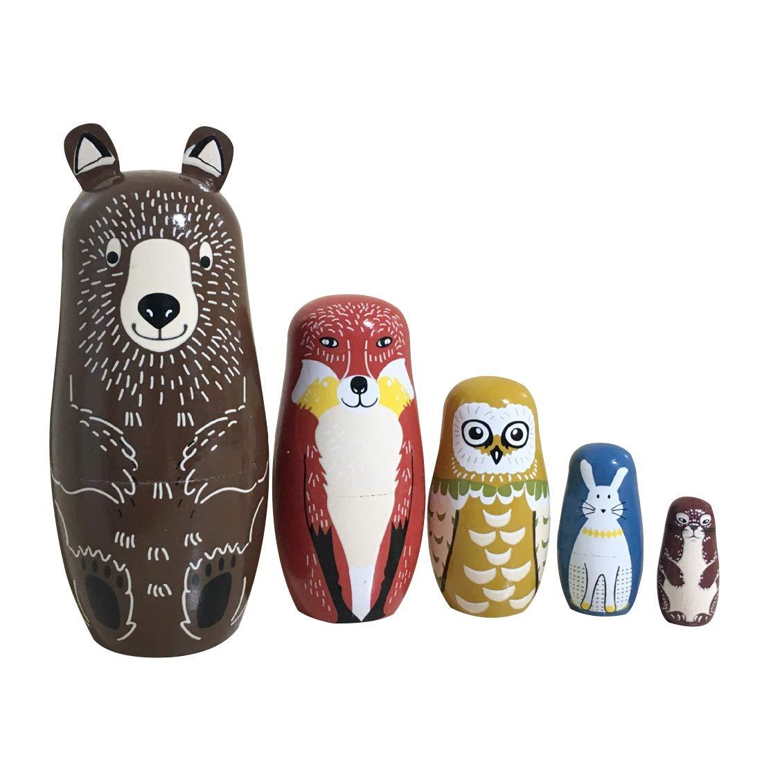 Helen-sky 5pcs Wooden Russian Nesting Dolls Cartoon Bear Fox Owl Matryoshka Dolls Handmade Kids Christmas Birthday Gift Home Decorations (5 pcs)