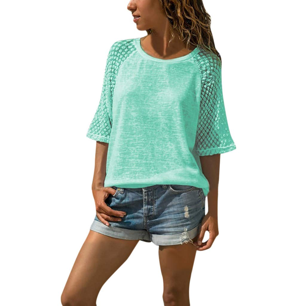Women Shirts and Bloues Sale Casual Lace Stitching Round Neck Cropped Sleeves Tee Shirts Top Green