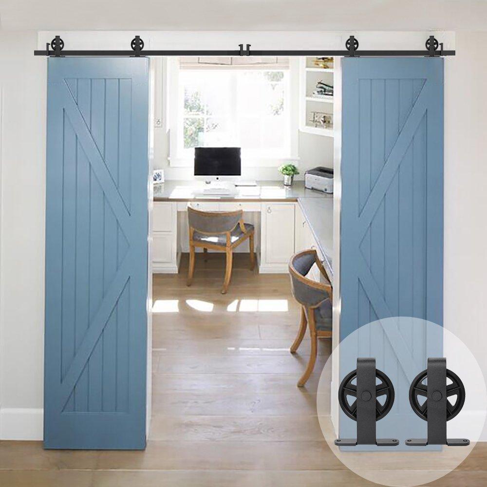 WINSOON T Shaped Style Big Spoke Wheel Sliding Barn Door Hardware Kit for Double Doors (6FT Double Door Track Kit)