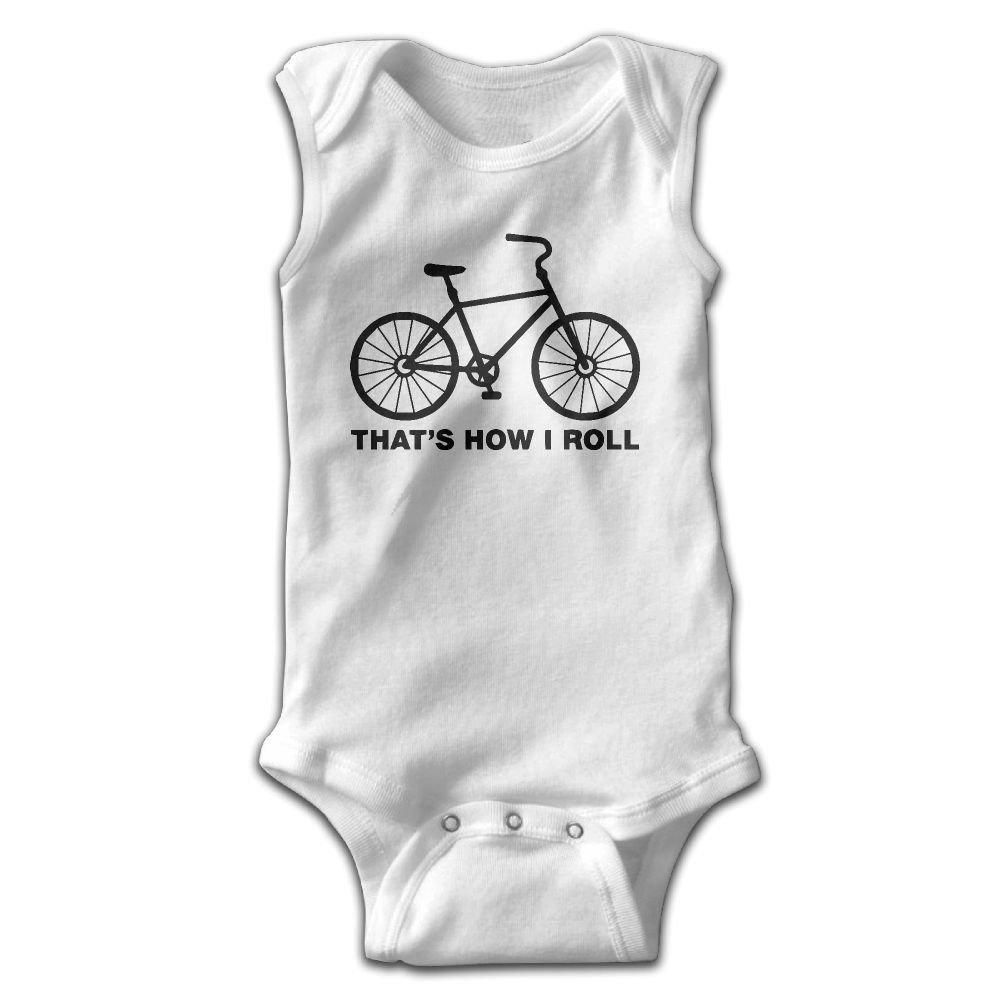 Thats How I ROLL Bicycle Baby Newborn Crawling Suit Sleeveless Onesie Romper Jumpsuit White