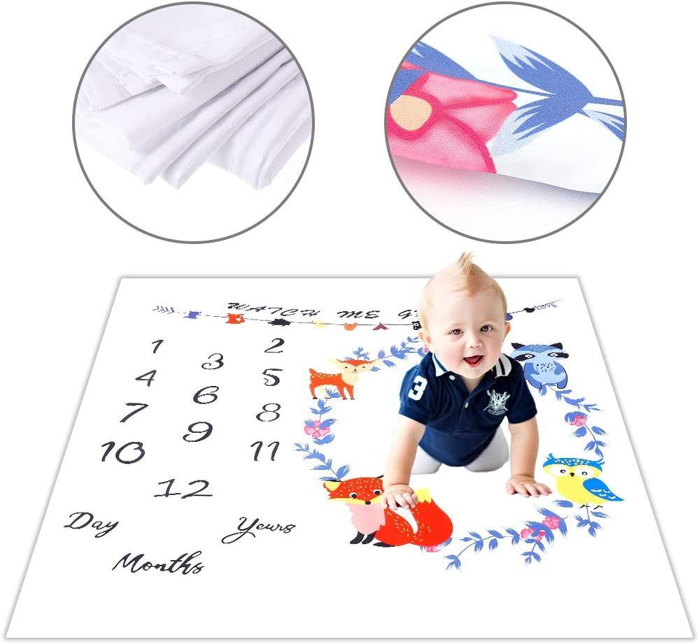 100x100 cm Soft Photography Background Blanket for Newborn Boys Girls Newborn Baby Monthly Blanket MSTG Tech Baby Milestone Blanket