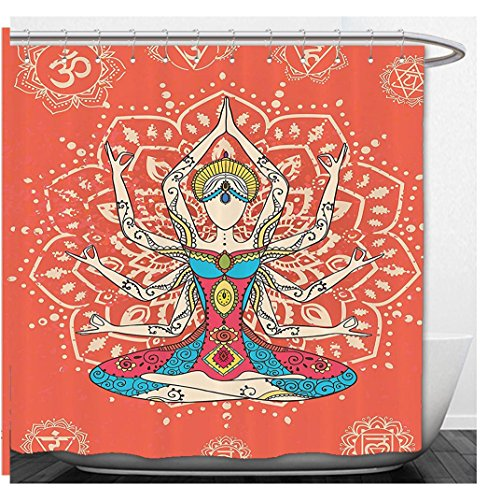 Simple Ethnic Costumes (Beshowere Shower Curtain Yoga Decor Set Yoga Technique with Ethnic Costume Insignia Zen Discipline Your Body and Mind Artprint Bathroom Accessorie Extralong Cream Red .jpg)