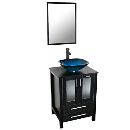 . eclife 24   Modern Bathroom Vanity And Sink Combo Stand Cabinet and Square  Blue Glass Vessel Sink and 1 5 GPM Bathroom Brass Faucet and Brass Pop Up