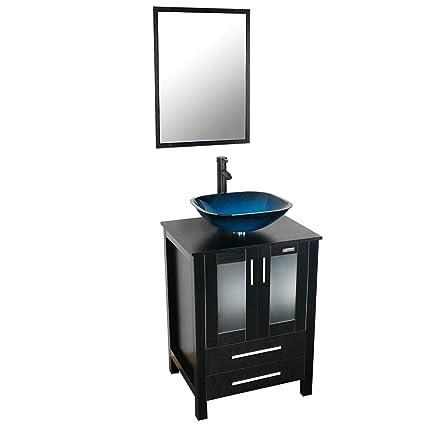 Bathroom Vanity Sink Combo. Eclife 24  Modern Bathroom Vanity And Sink Combo Stand Cabinet and Square Blue Glass